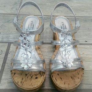Seychelles Girls Silver Cork Wedges Shoes